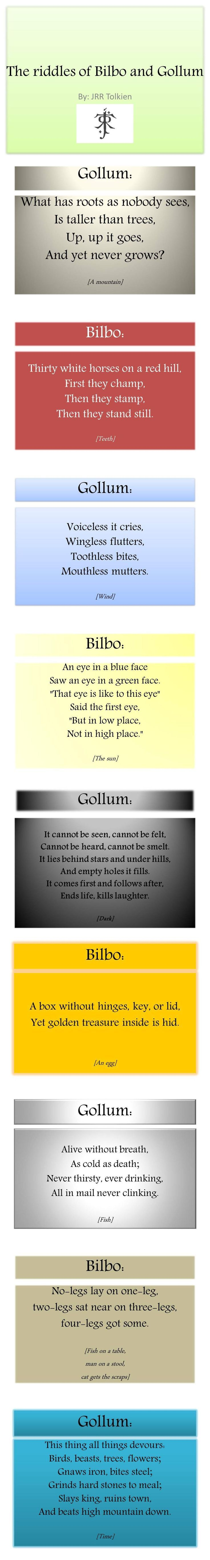 "Riddles Tolkien. The last one is by Bilbo and he asks Gollum, ""What is in my pocket?"""