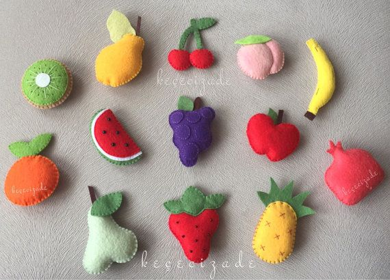 Felt fruit, felt food, felt toy, fruits set.