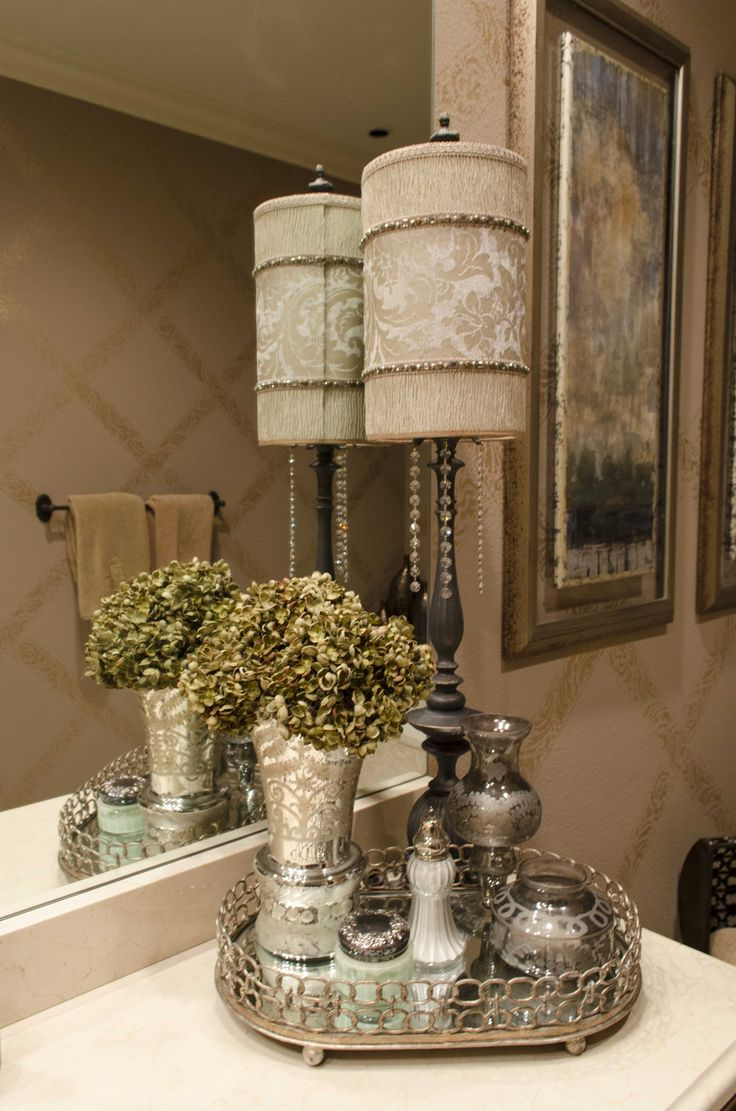 like this idea for master bath with pretty tall lamp on counter - Bathroom Accessories Elegant