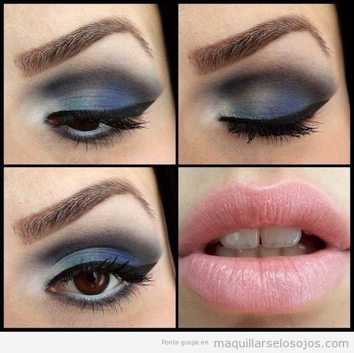 Maquillaje de ojos en blanco verde antracita y azul for Como maquillar ojos ahumados paso a paso