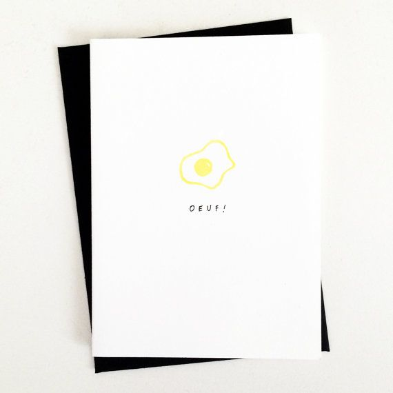 """Oeuf!"" hand-lettered greeting card, made with hand-carved stamp and yellow ink. Blank inside. 4-bar folded card (3 1/2"" x 4 7/8"") and envelope (3 5/8"" x 5 1/8"")."