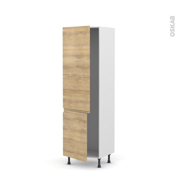 Colonne de cuisine N°2721 - Armoire frigo encastrable - IPOMA Chêne naturel - 2 portes - L60 x H195 x P58 cm. 188 euros