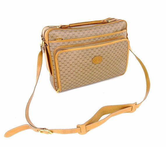 2998903572f30 Super Rare Vintage Gucci Supreme Micro GG Monogram Canvas Leather ...