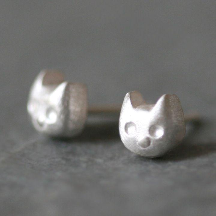 Kitty Stud Earrings in Sterling Silver [30_ER05] - $58.00 : michelle chang jewelry