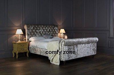 CRUSHED VELVET BED FRAME - DOUBLE 4ft6 BEDSTEAD - GREY VELVET - BLACK VELVET