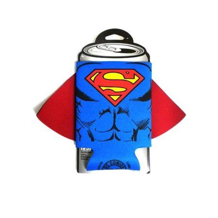Superman Character Caped Can Cooler, Clear