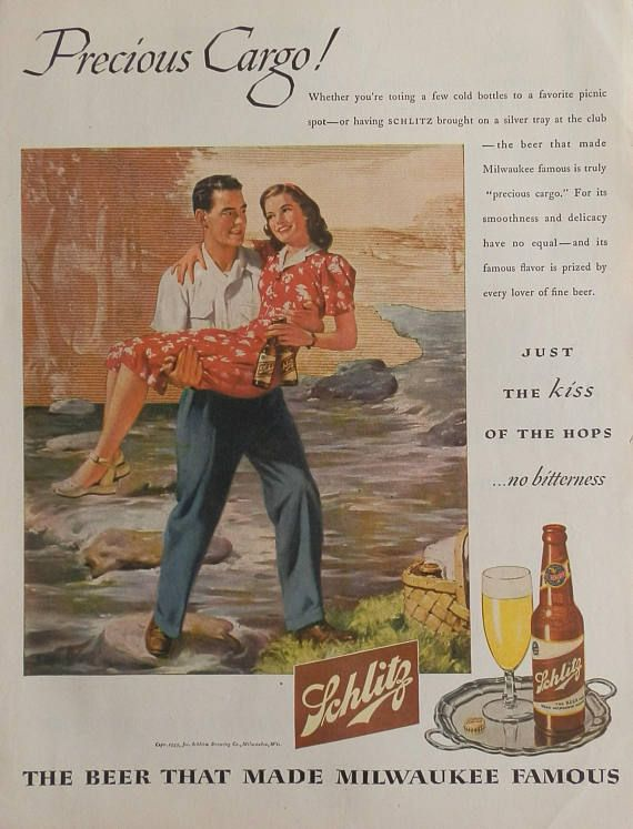 Schlitz Beer The Beer That Made Milwaukee Famous 1945 Vintage