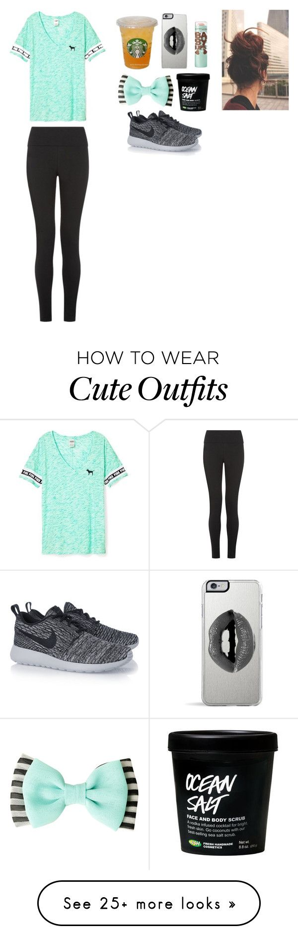 """""""-mint PINK outfit-"""" by outfit-dreamers on Polyvore featuring Victoria's Secret, NIKE, Lipsy and Maybelline"""