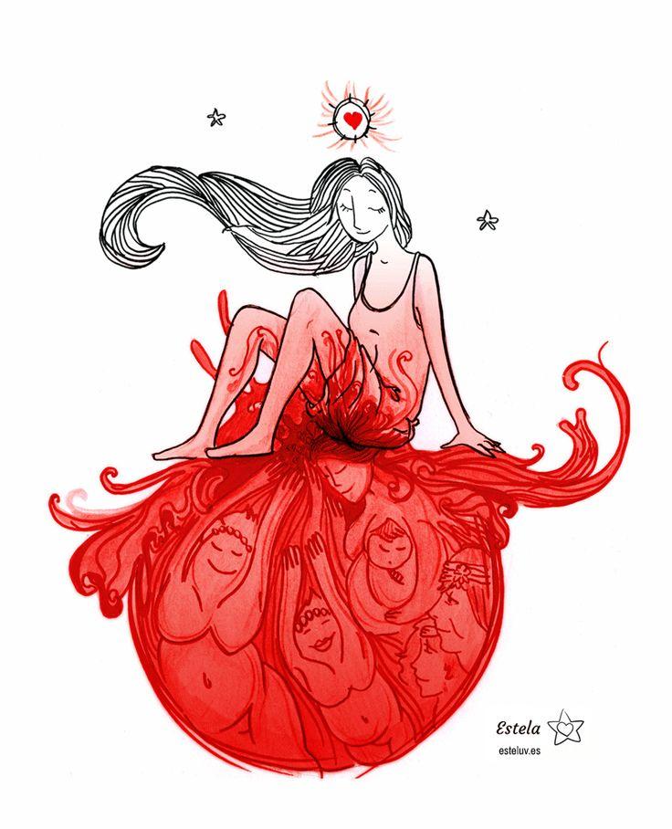 """Menarquia. La primera luna. Todas las que son, eran y serán te dan la bienvenida. Lápiz, acuarela, rotulador negro, rotulador rojo, corrección color digital. Ilustración para mi querida """"hermanita"""" Nazaret inspirada en su relato: http://www.airesdecambio.com/nazaret-laso-mi-primera-menstruacion/  Nazaret está presente en la web y tienda online aquí: http://nazaretalmundo.blogspot.com.es/ y aquí http://tierrasabia.es/  Ilustración creada por Estela Labajo Duque"""
