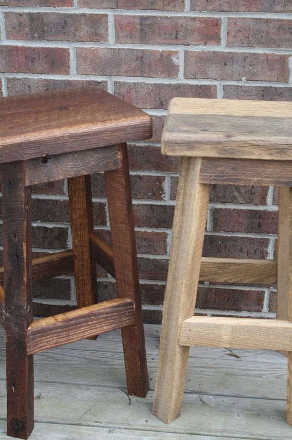 """YOUR Rustic and Reclaimed Rectangle Oak Barn Wood Bar Stool with 24""""-28"""" Tall Seats Sealed or Painted"""