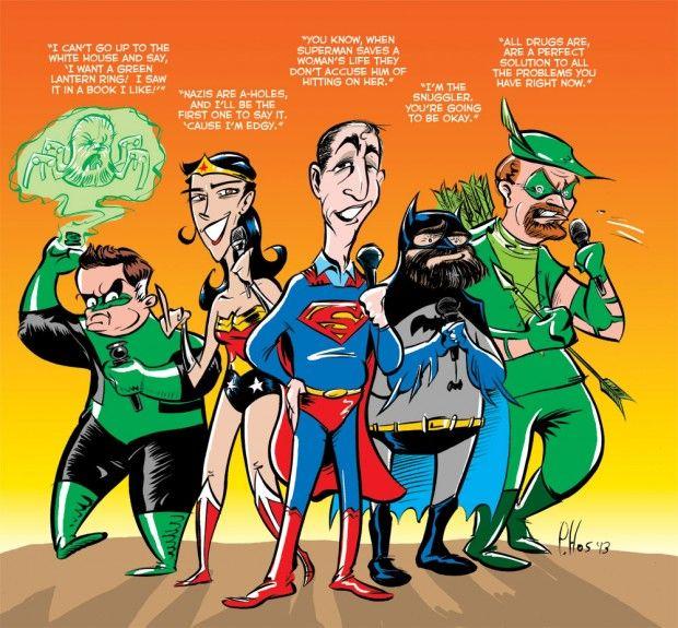The Line it is Drawn #154 – When Superhero Movie Casting Goes Wrong!  Patton Oswalt as Green Lantern Sarah Silverman as Wonder Woman Jerry Seinfeld as Superman Zach Galifinakis as Batman Louis CK as Green Arrow