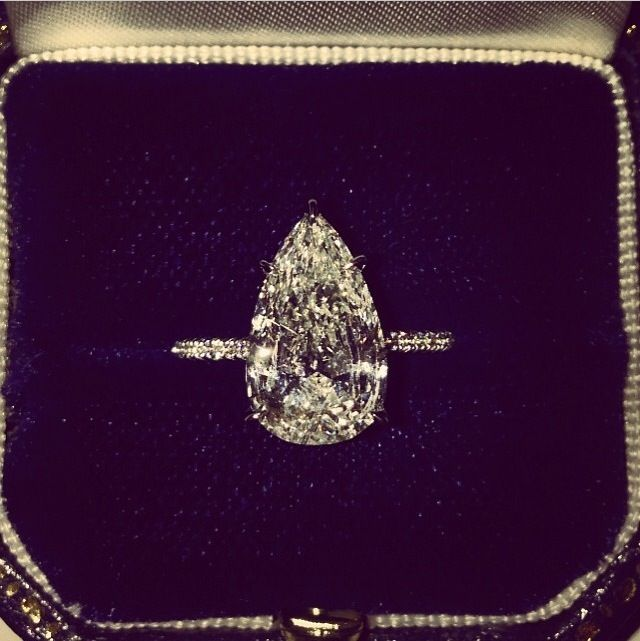 Pear shaped diamond engagement ring by Soraya Silchenstedt - I think the pear shapes should be as simple as possible.