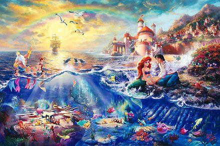 The Little Mermaid - Thomas Kinkade - World-Wide-Art.com #Disney #Kinkade