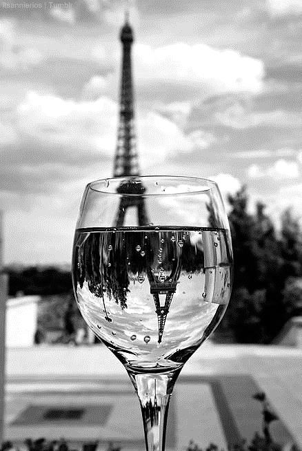 Paris. -I love how the actual tower is blurry but in the glass it's in focus. I want to try this.