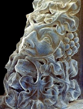 One of four Green Men on corbels in All Saints Church, Harston, Cambridgeshire, England (photo Tina Negus).