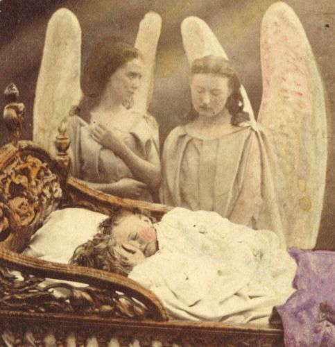 This image is from a Catholic prayer card. These are guardian angels watching over sleeping babies.