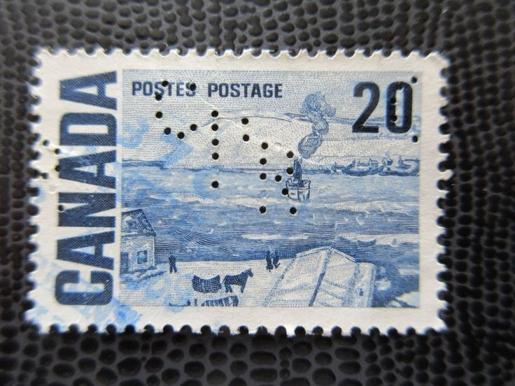 # 464 CPR Perfin Quebec Ferry used Canada stamp