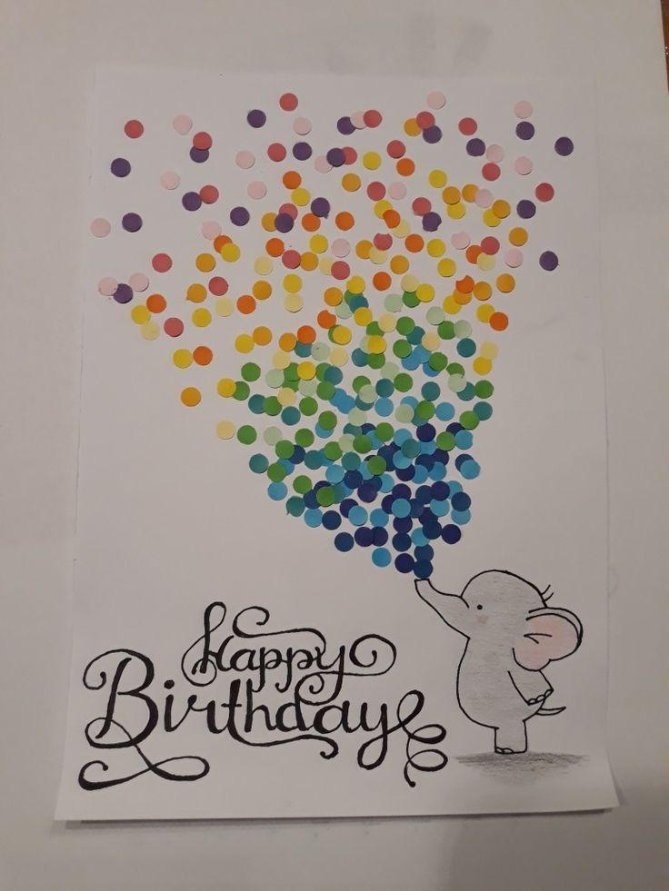 #Geburtstag # #Karte # # Elefant # #Konfetti # #Süss