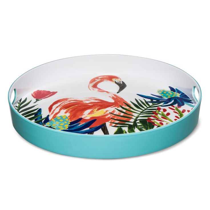 Round 15in Plastic Serving Tray with Flamingo Decal Green