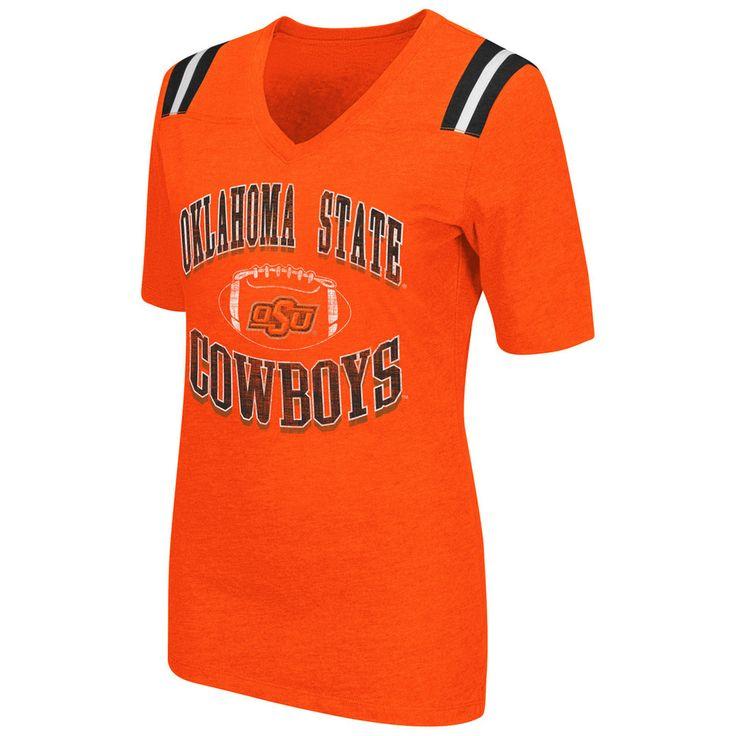 Women's Campus Heritage Oklahoma State Cowboys Distressed Artistic Tee, Size: Medium, Drk Orange