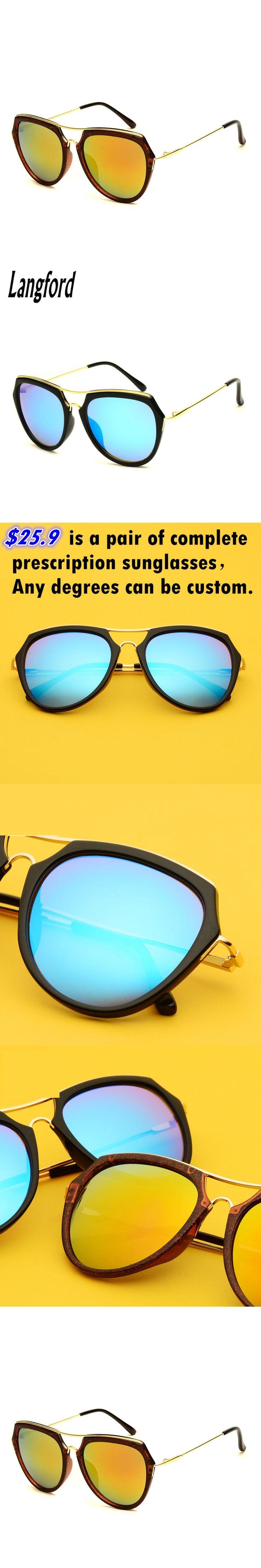 langford prescription sunglasses woman double Bridge fashion Polarized vintage sunglasses gold mirror lens