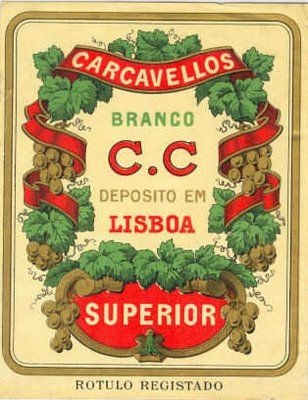 "Old label of a bottle of a ""Carcavelos"" Wine"