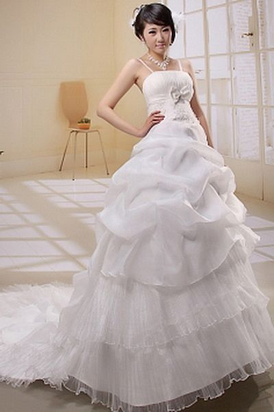 Organza White Ball Gown Bridal Dress ted0391 - SILHOUETTE: Ball Gown; FABRIC: Organza; EMBELLISHMENTS: Applique , Bowknot , Ruched , Sequin; LENGTH: Cathedral Train - Price: 161.1800 - Link: http://www.theeveningdresses.com/organza-white-ball-gown-bridal-dress-ted0391.html