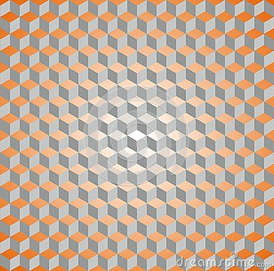 Seamless isometric cube orange and grey pattern