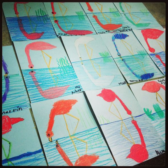 2nd grade flamingo reflections (could print the reflection with paint or wetting markers, pastels, etc)