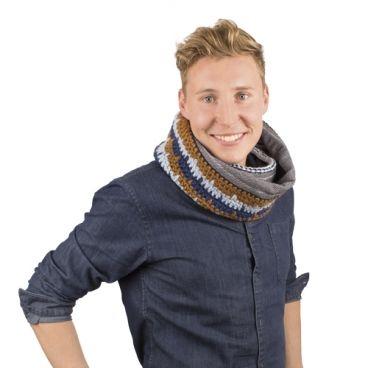 Häkelanleitung für Loop Schal - Stoff-Woll-Kombination