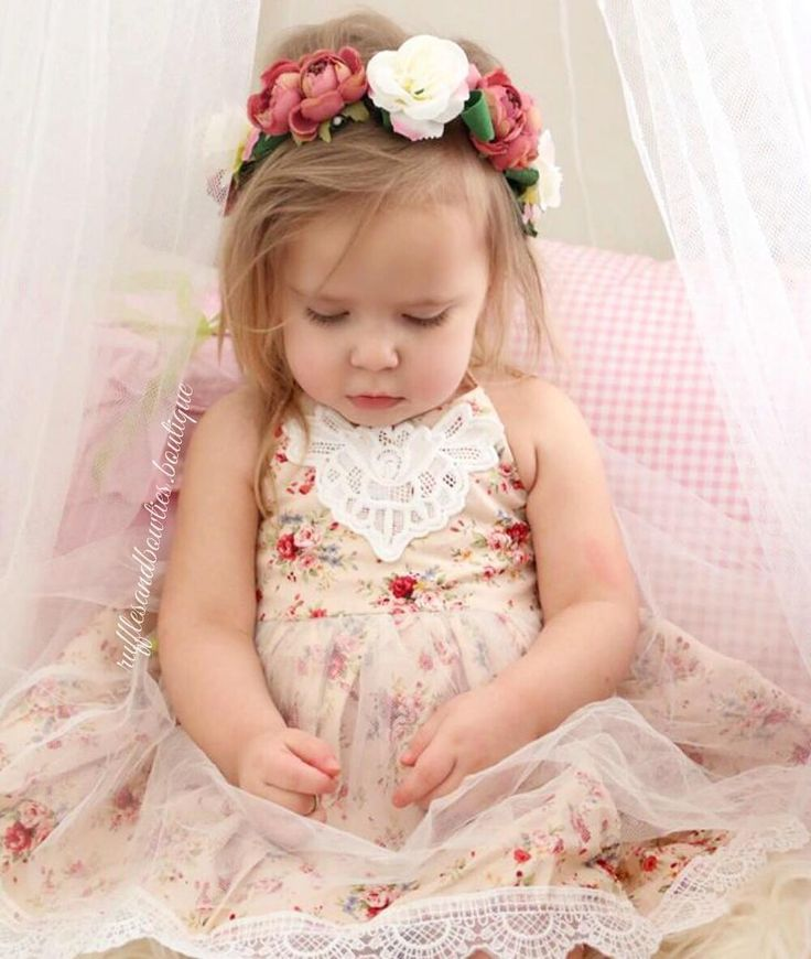 Little miss Spencer Jane is adorable in this amazing dress and matching floral crown outfit  in stock and ready to ship  link in bio