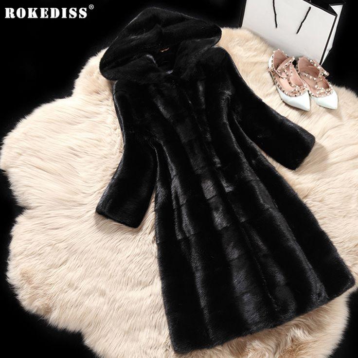 >> Click to Buy << ROKEDISS 2017 Women's Winter Fur Coat Fashion Autumn Faux Fur Coat Fake Mink Fur Plus Size Warm Hooded Coat Mink Fourrure X330 #Affiliate