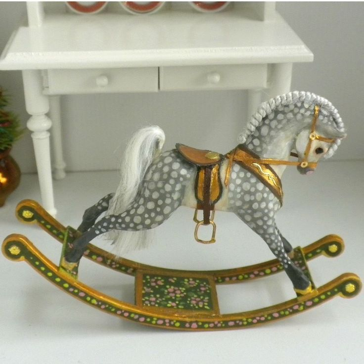 Hand Painted Rocking Horse Toy IGMA Artisan Amanda Skinner Dollhouse Miniature
