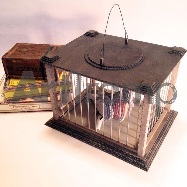 """The Pigeon Inn"" ~ Tramp Art Messenger Pigeon in Cage. Original design by David A. Schump a.k.a. The Art Tramp ©2016"