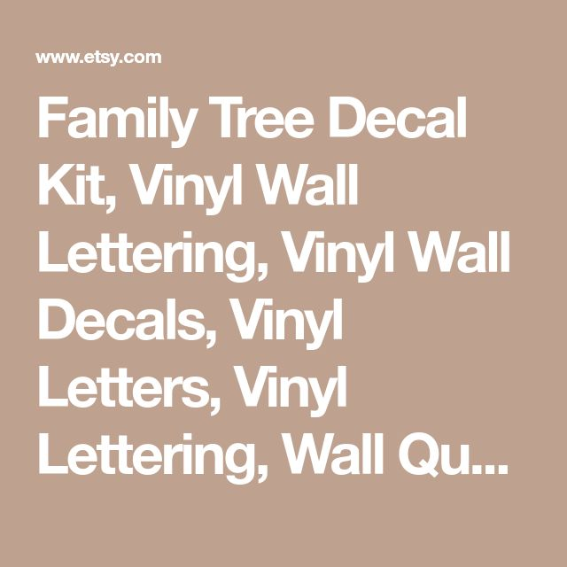 Family Tree Decal Kit, Vinyl Wall Lettering, Vinyl Wall Decals, Vinyl Letters, Vinyl Lettering, Wall Quotes, Photo Tree Decal