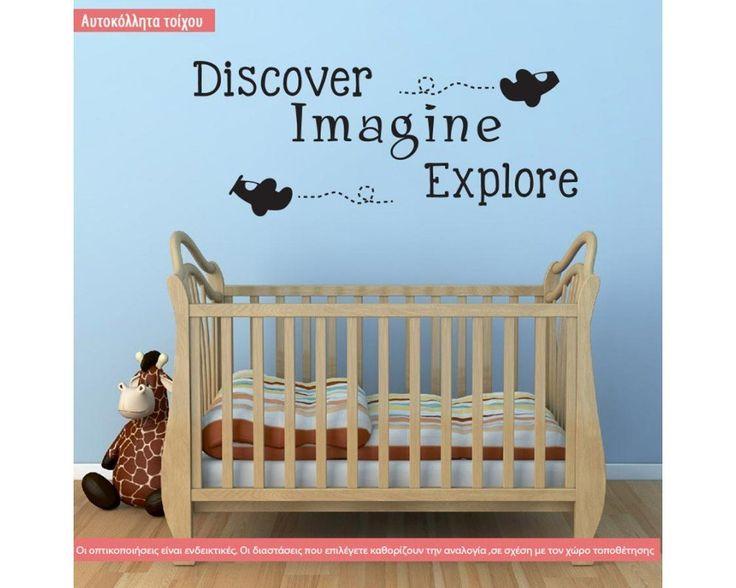Discover,imagine,explore αυτοκόλλητο τοίχου