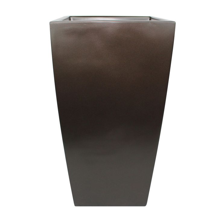 Orinda Tall Square Curved Planter - Brown
