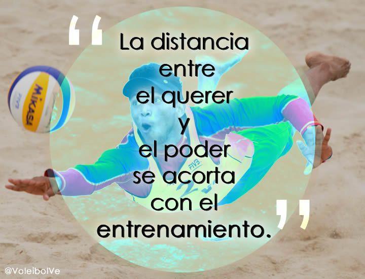 """""""La distancia entre el querer y poder, se acorta con el entrenamiento""""  Frases Motivaciones Voley #voleibol #Volleyball"""