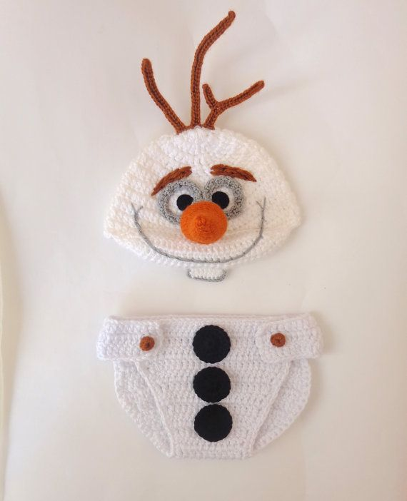 Olaf Snowman Frozen Crochet Hat And Diaper Cover by KernelCrafts