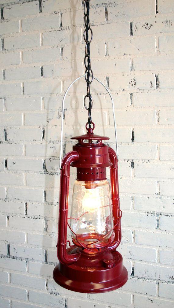 Repurposed Dietz Lantern Hanging Light Vintage Maroon