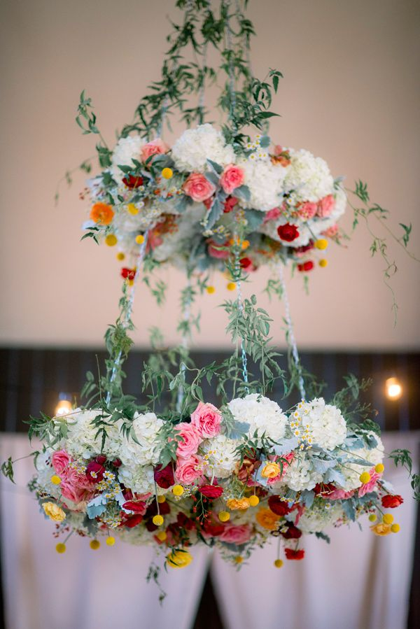 Loving this fabulous floral chandelier wedding decor! | See more on http://www.youmeantheworldtome.co.uk/friday-five-floral-chandeliers/ Image: Tim Willoughby via Ruffled