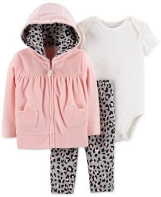4269262ad5 Baby Girls 3-Pc. Hearts Hoodie