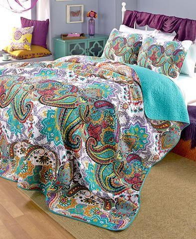 Comforter Sham Turquoise Paisley Reversible Full/Queen/King Boho Bedding