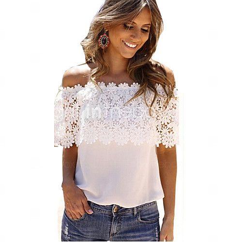 merletto delle donne ritaglio off maglietta della spalla della rappezzatura - EUR € 9.49