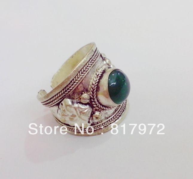 Элегантный 10 шт. ретро стиль тибет серебро резные кружевной декор зеленый нефрит кольцо регулируемый как для женщин и мужчин