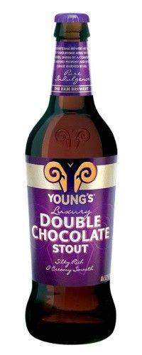 Cerveja Young's Double Chocolate Stout, estilo Sweet Stout, produzida por Wells & Youngs, Inglaterra. 5.2% ABV de álcool.