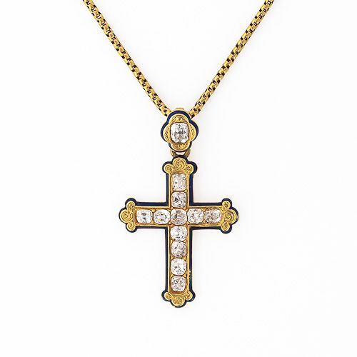 Victorian Diamond Cross Pendant 14K Yellow gold Victorian diamond cross featuring twelve old mine cut diamonds (2.25 carats total weight, H-J color, SI-I1 clarity) with blue enamel detailing on a 17 Victorian snake chain, French Hallmarks. This pendant measures1 1/2 long by 1 wide.