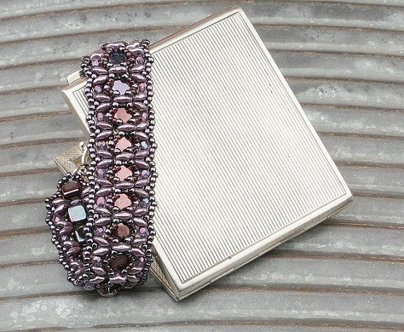 Purple and Violet Beaded Barcelet by CatchTheBeads on Etsy