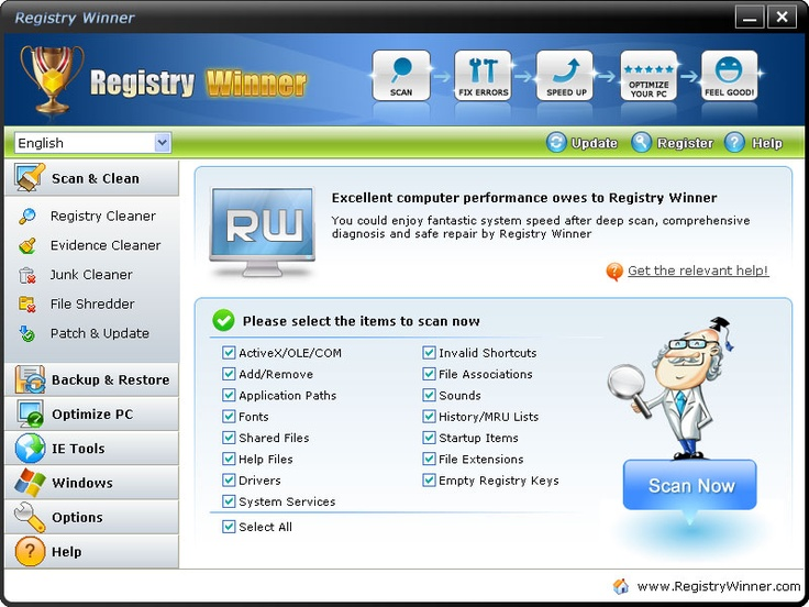 Registry Winner™ is a top-ranking error-resolution registry cleaner which will fix the computer errors and optimize the system speed. In normal use, various annoying registry errors will gradually creep into your system, causing problems such as slow speed, crashing or freezing, blue screens, deadlock, error messages etc. For only $34.95