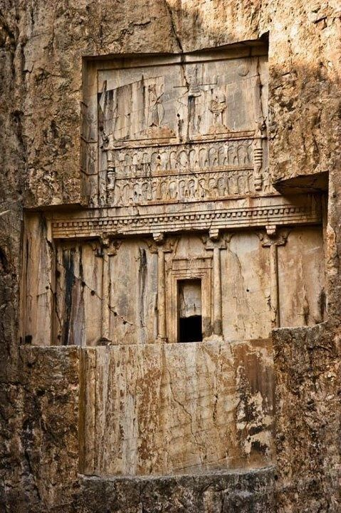 Persia, the Ancient Iran; Naqsh-e Rustam: (äÞÔ ÑÓÊã ) is an archaeological site located about 3 km northwest of Persepolis. Naqsh-e Rustam, contains seven tombs which belongs to Achaemenian kings (550-330 BC). One of those is expressly declared in its inscriptions to be the tomb of Darius I. In addition to tombs, there are also seven gigantic rock carvings in Naqsh-e Rustam, below the tombs, belonging to the Sassanid kings (224-651 AD). | ©Ali Majdfar